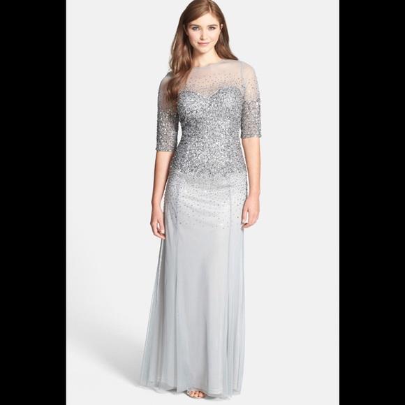 139ea6e8ee51 Adrianna Papell Dresses | 34 Sleeve Illusion Beaded Gown | Poshmark